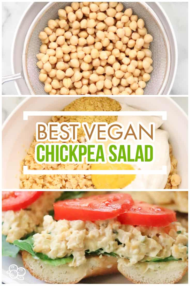 This fab vegan chickpea salad is vegan fast food at it's best!  Literally takes just minutes to make this mashed chickpea salad and it is delish in on the go lunches or as a party spread with crackers, veggies, or bread! #chickpeas #glutenfree