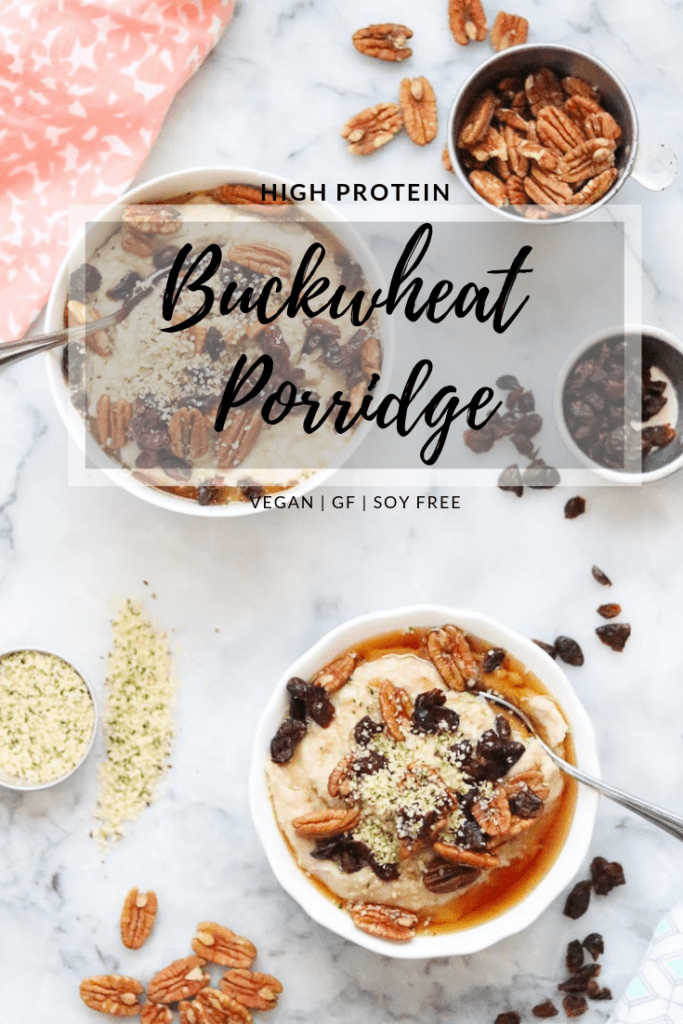 overhead photo of buckwheat porridge in white bowls with text overlay for pinterest graphic