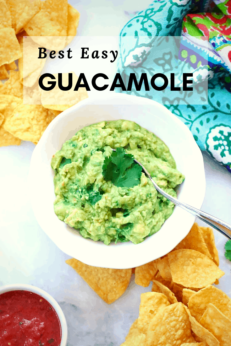 This is the best easy guacamole you'll ever make or eat!  Full of flavor, and slightly chunky, you'll be ready for a party, appetizer, or Mexican food garnish in minutes!  #guacamole