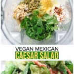 double photo collage of vegan caesar salad for pinterest graphic