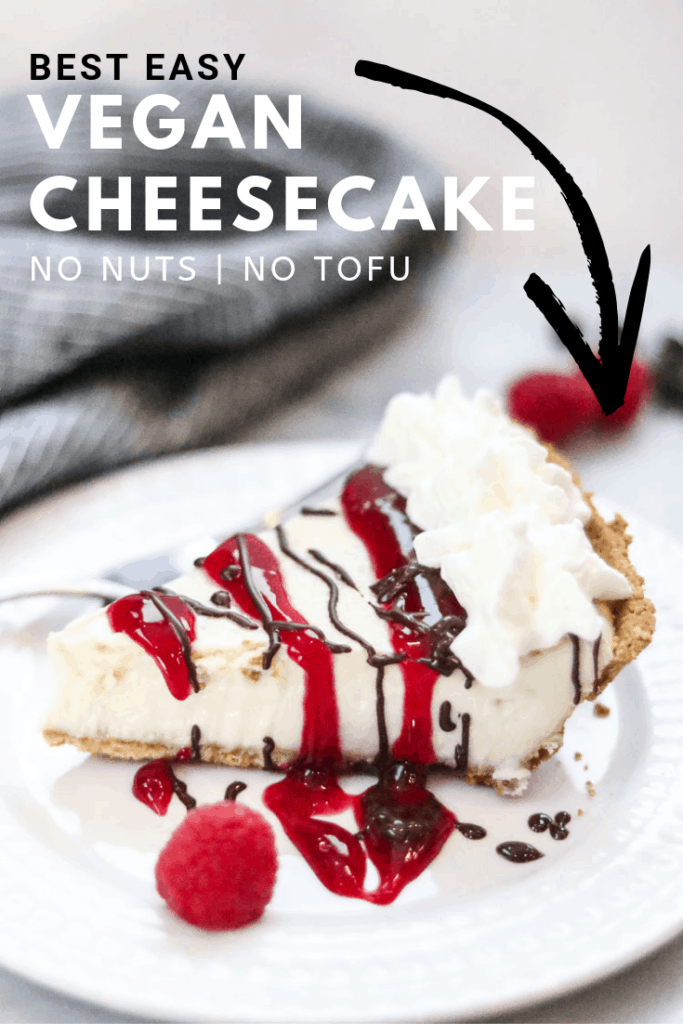 side overhead shot of vegan cheesecake slice served up with text and arrow overlay for pinterest