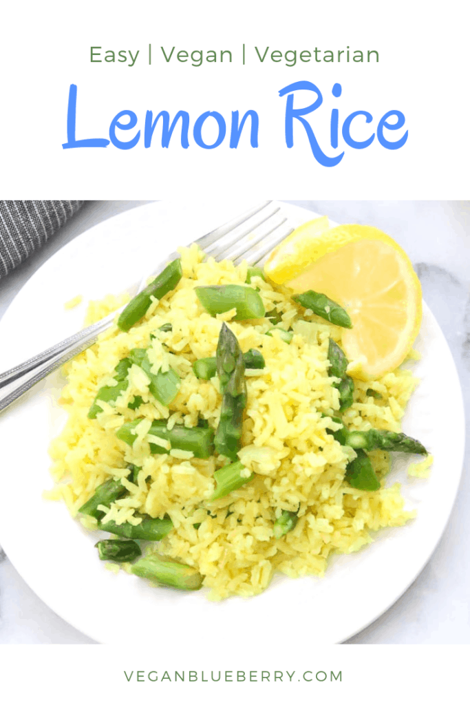 overhead closeup shot of lemon rice with asparagus with text overlay for pinterest