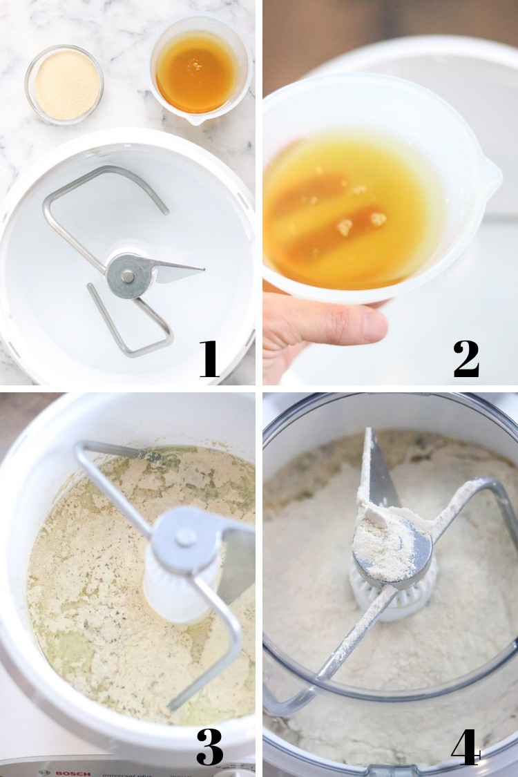 overhead photo collage of process of making whole wheat bread in a mixer