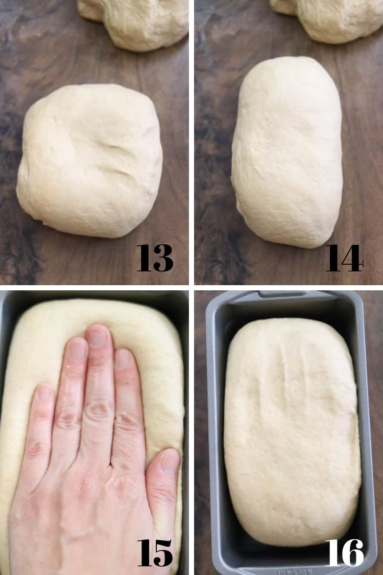 overhead photo collage of bread dough being formed and placed into baking pans