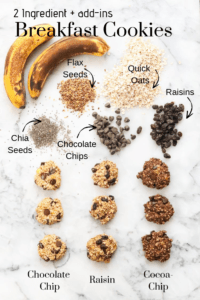 overhead shot of chocolate chip banana oat cookies as well as two other variations lined up on marble backdrop with text overlay