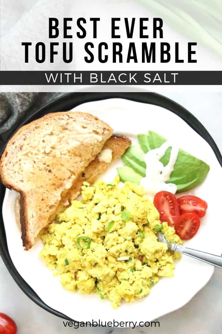 overhead shot of tofu scramble with text overlay for pinterest graphic
