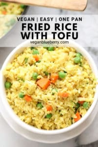 overhead closeup shot of vegan fried rice with text overlay for pinterest