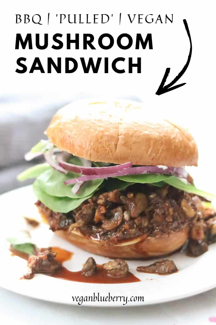 side overhead shot of pulled mushrooms sandwich with text overlay for pinterest