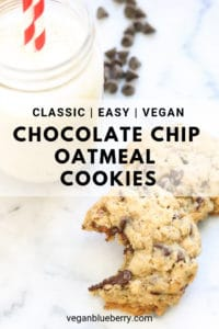 overhead shot of vegan oatmeal chocolate chip cookie with chocolate chips in background and text overlay for pinterest