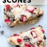 closeup overhead shot of vegan scones with text overlay for pinterest
