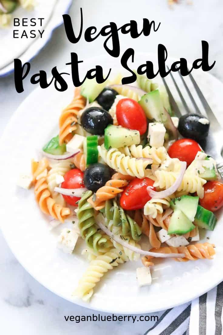 closeup shot of vegan pasta salad with text overlay for pinterest