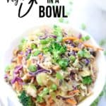 side overhead closeup shot of vegan egg roll ingredients in a white bowl with text overlay for pinterest