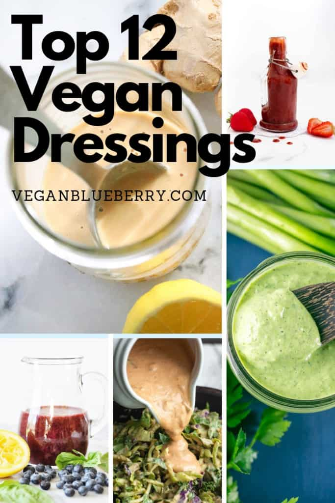 photo collage of 5 vegan dressings for pinterest
