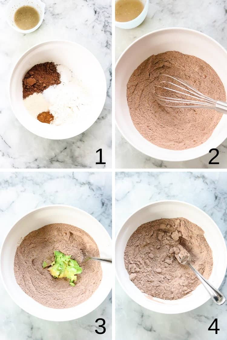 overhead process shot collage of vegan avocado brownie mixture in a white bowl