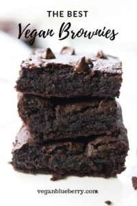 side view of stacked vegan brownies with text overlay for pinterest