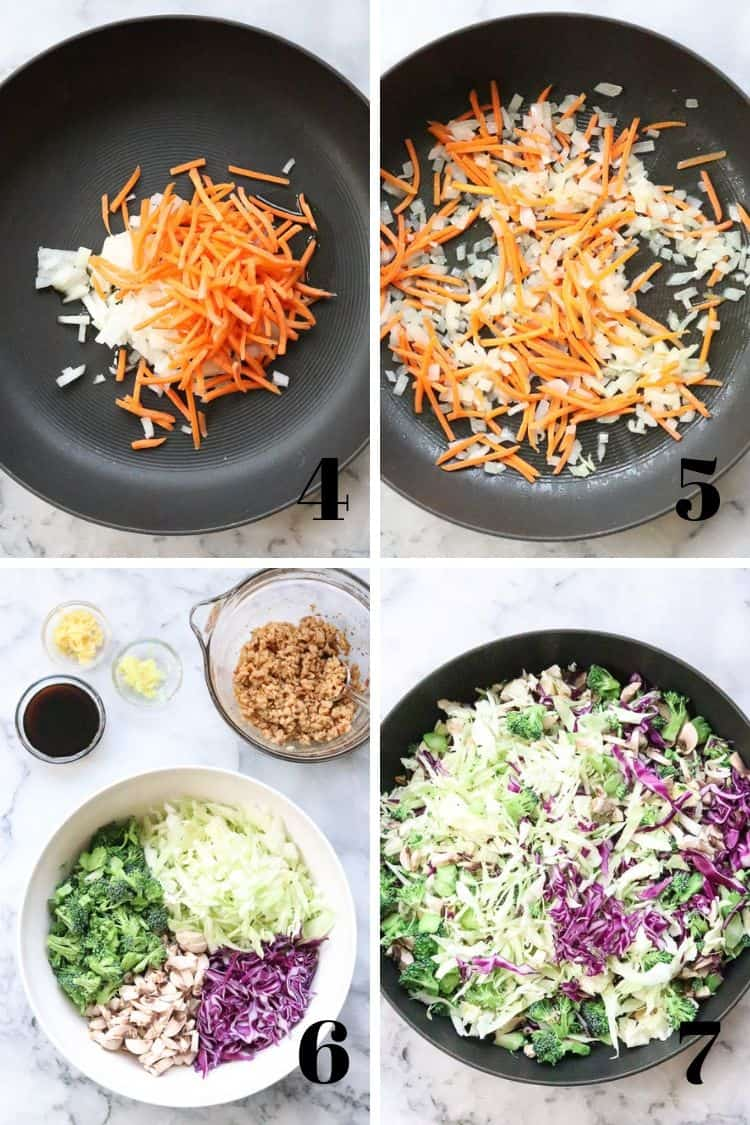 overhead photo collage of four photos showing stir-fry process for veggies for vegan egg roll in a bowl