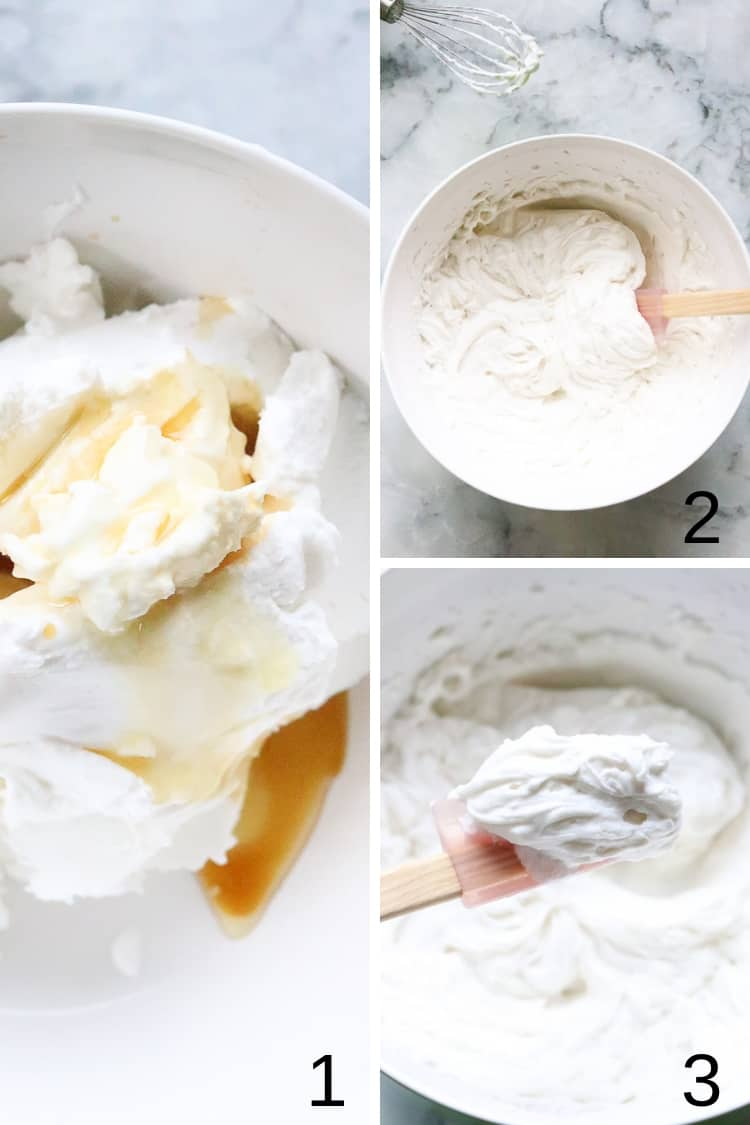 overhead process shots for making vegan coconut whip cream in a collage