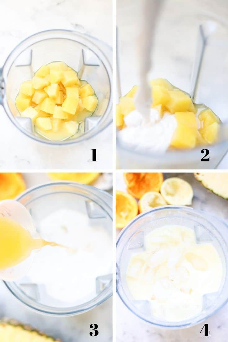 collage of photos for how to make virgin pina colada with ingredients being added to blender