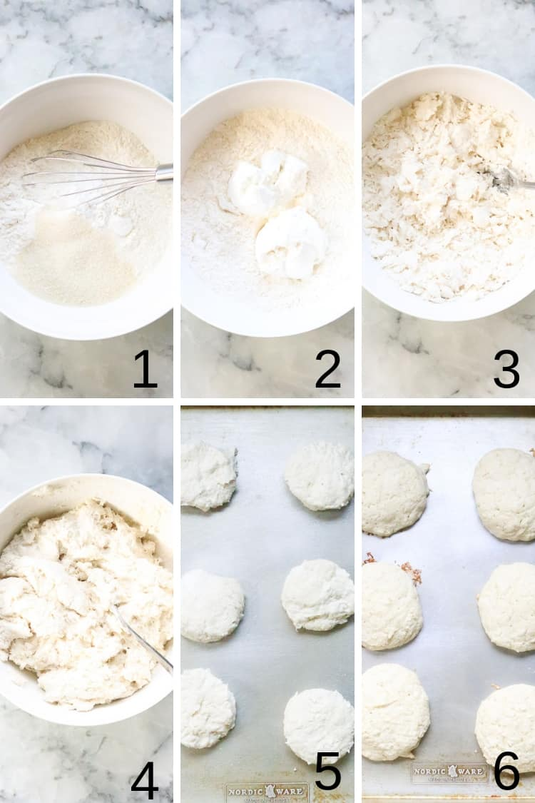 photo collage of overhead process shots of vegan shortcake biscuits