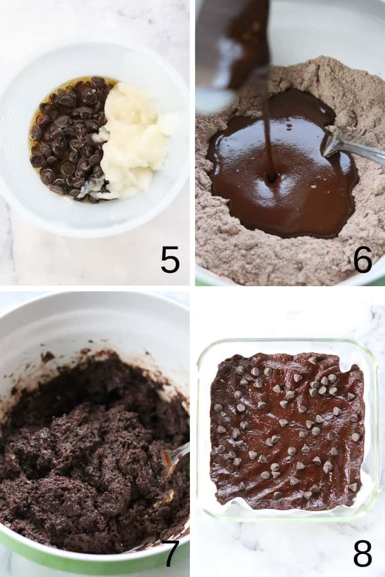 overhead process shots of vegan avocado brownie mixture from dry to wet ingredients