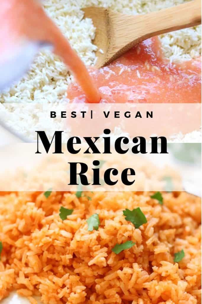 vegan Mexican rice photo collage with text overlay for pinterest