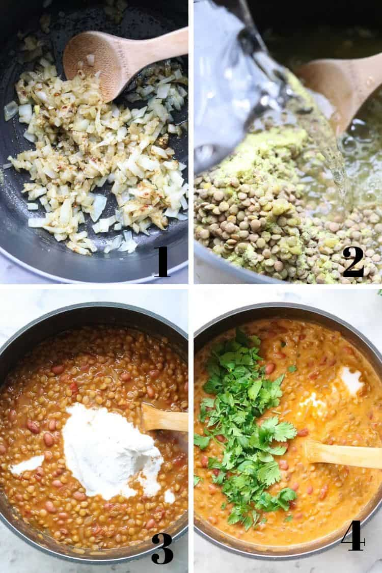 overhead photo collage of process shots for making madras lentils