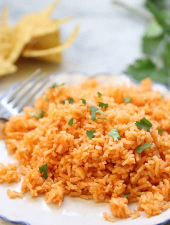 side closeup shot of vegan mexican rice on a white plate with a garnish of cilantro
