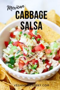 side overhead closeup of cabbage salsa with text overlay for pinterest
