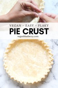 overhead photo collage of photos for vegan pie crust