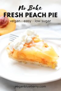 Fresh peach pie photo with text overlay for pinterest