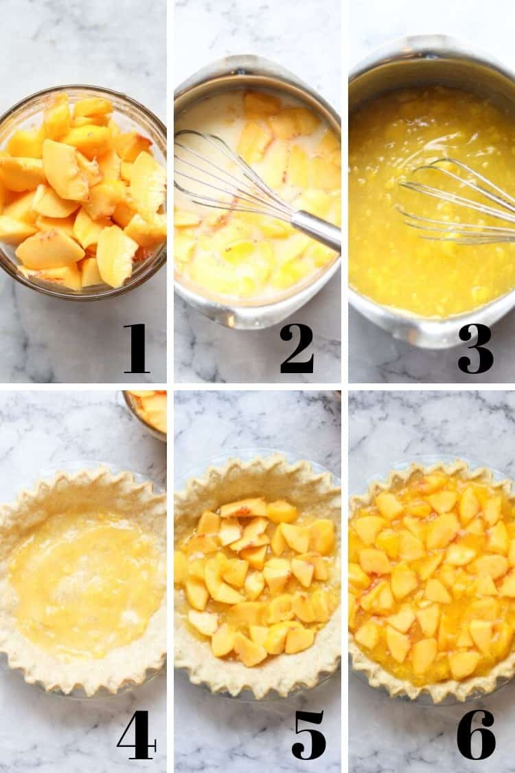 collage of overhead process shots of fresh peach pie