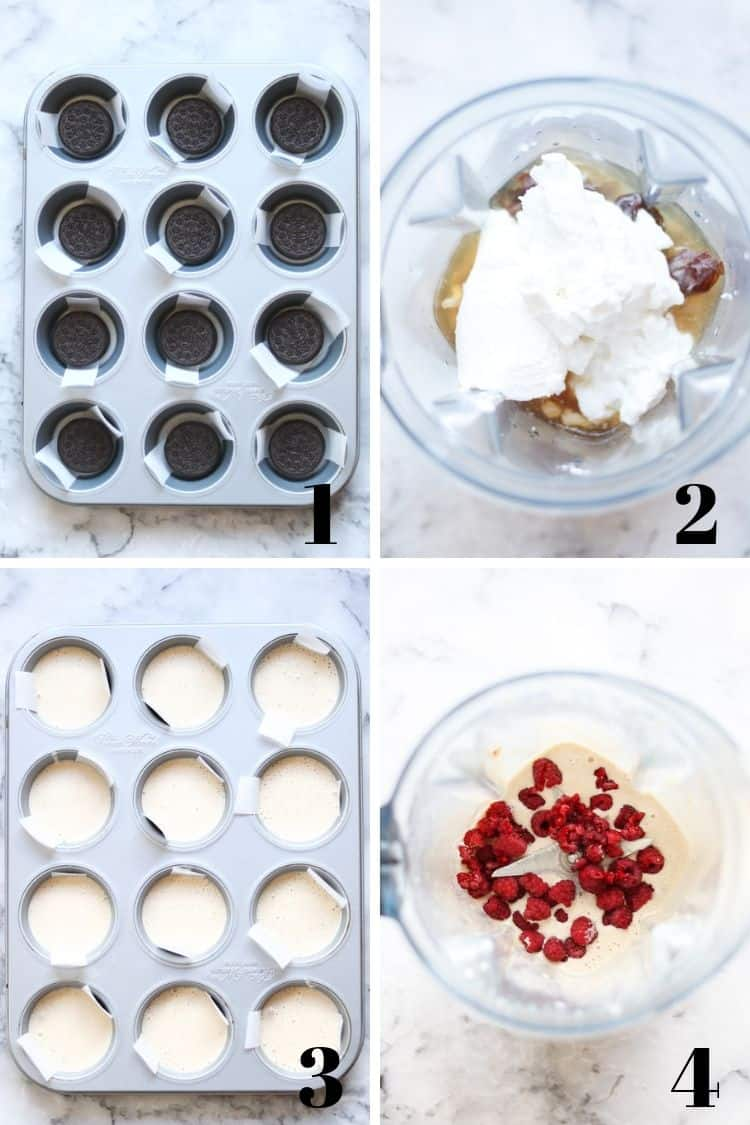 overhead photo collage showing assembly of vegan ice cream cups