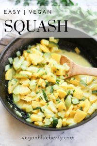 side overhead shot of cooked squash in a skillet with text overlay for pinterest