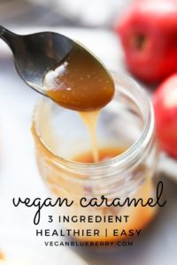 side overhead shot of vegan caramel dripping into mason jar with apples behind and text overlay for pinterest