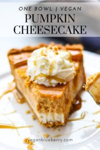 side overhead shot of a slice of vegan pumpkin cheesecake with text overlay for pinterest