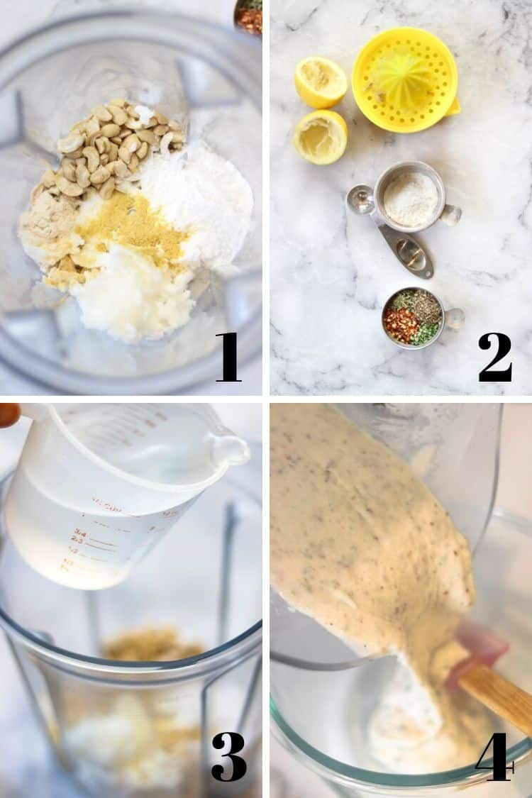 a collage of photos for how to make vegan herb cheese in a blender showing the blending process