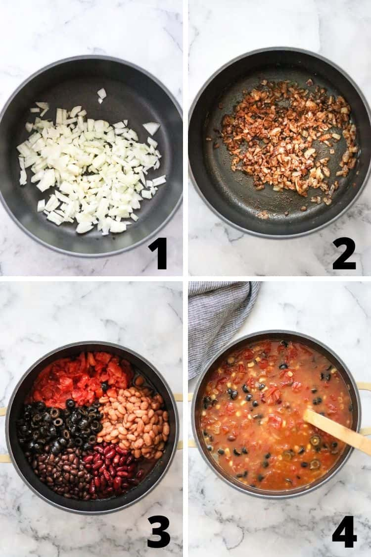 overhead process shot collage of making vegan taco soup