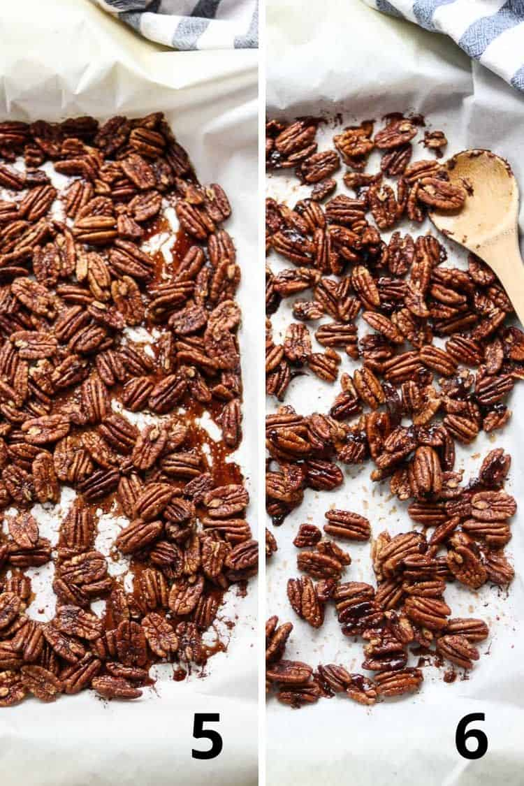 overhead collage of two photos showing candied pecans right out of the oven and then after being stirred