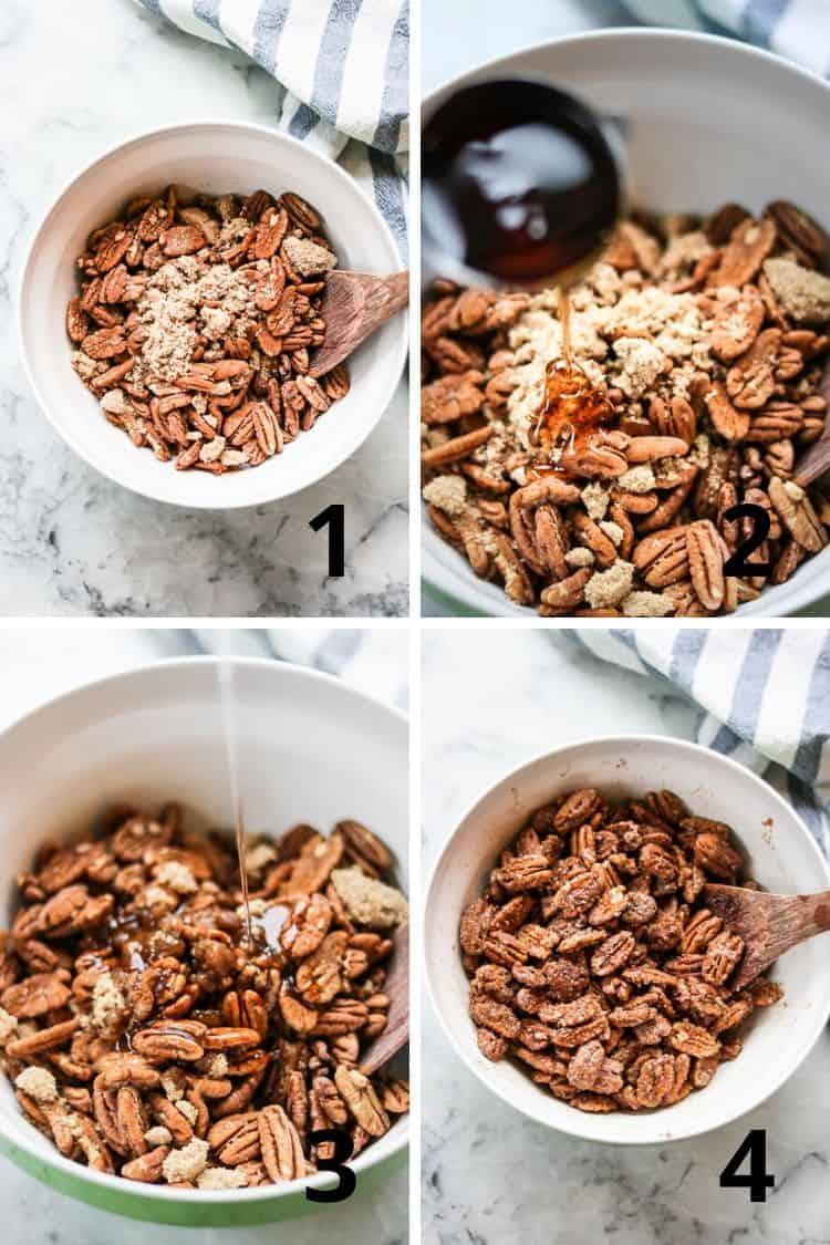 overhead process shot of spices and sugar being added to bowl of pecans followed by maple syrup and coconut oil and then being stirred to coat pecans well
