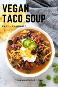 overhead photo of vegan taco soup with text overlay for pin