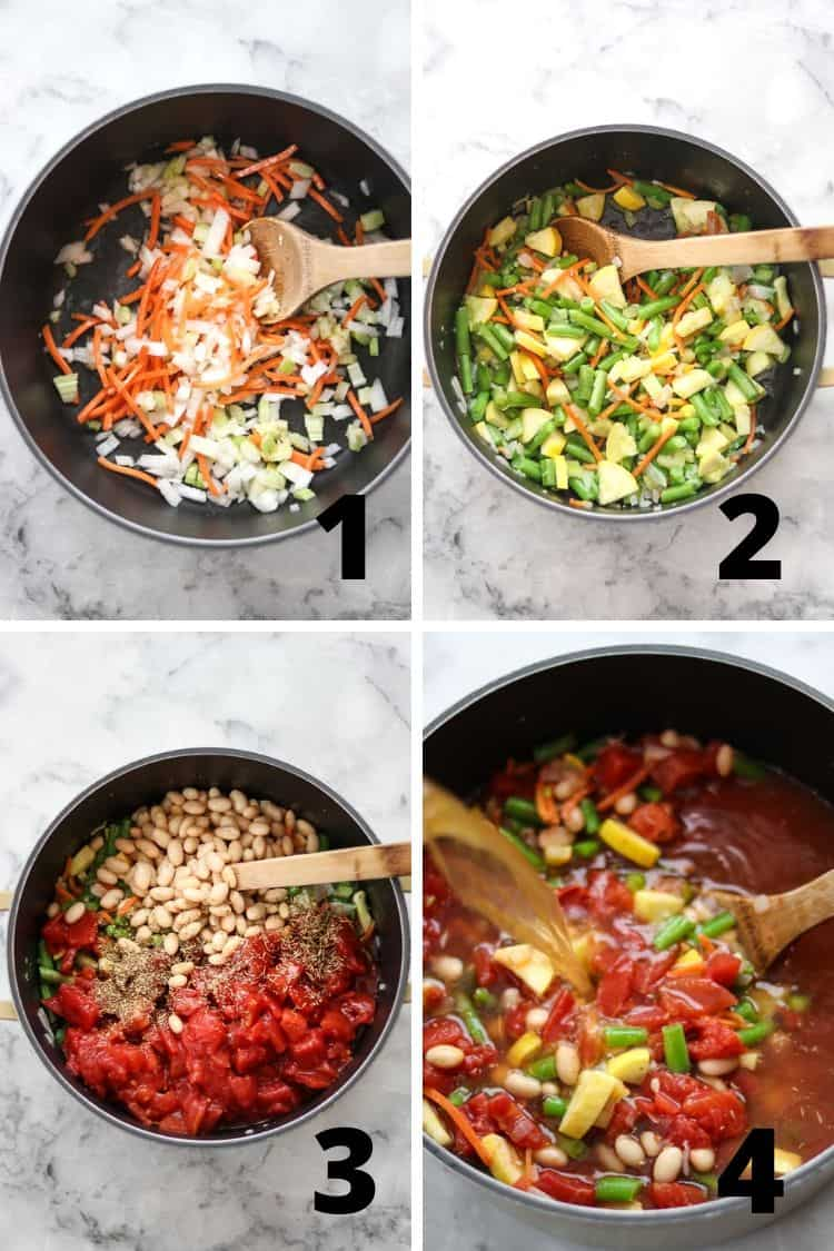 overhead process shots showing preparation of vegan minestrone in a soup pot