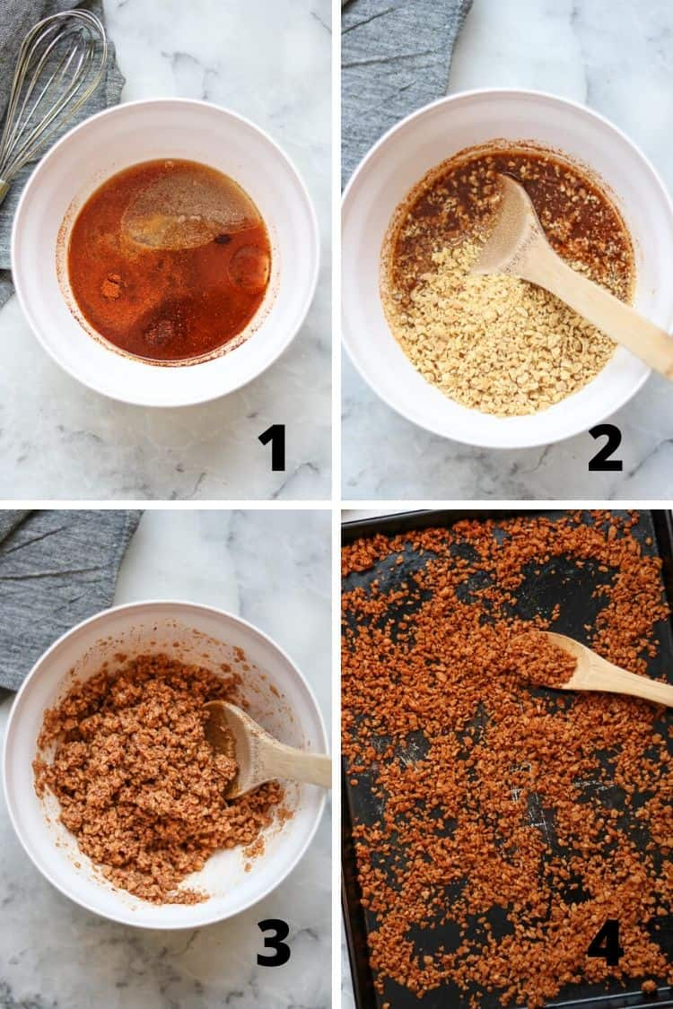 four process photos in a collage to show how to mix and bake vegan bacon bits