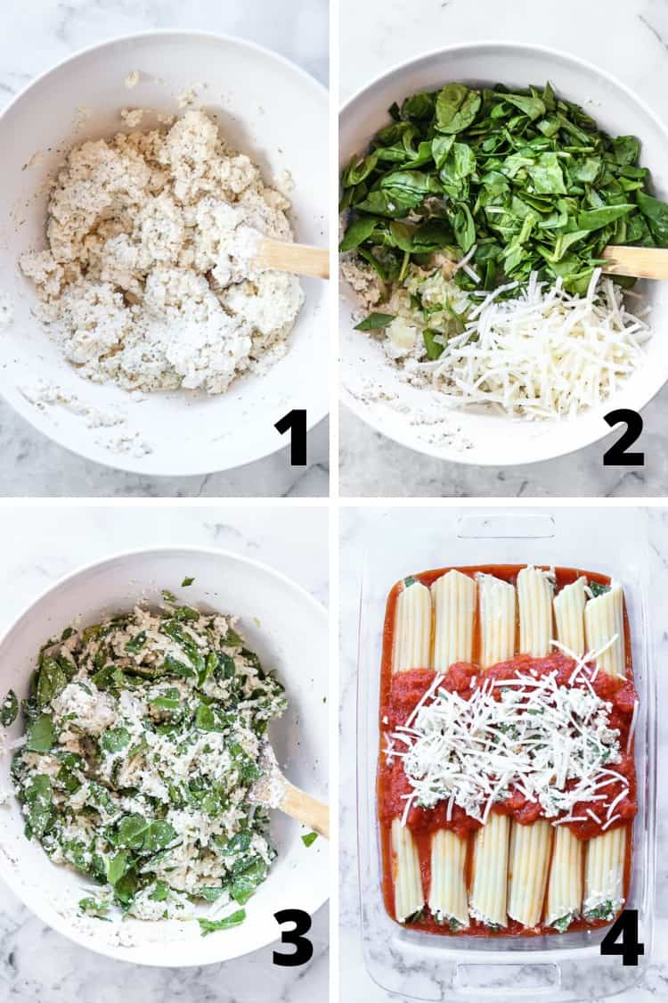 collage of four overhead photos showing process for making vegan manicotti