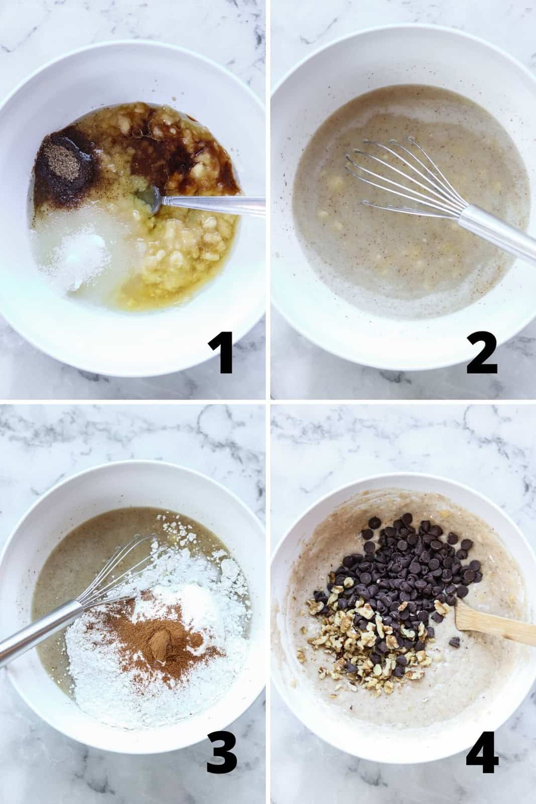 overhead process collage showing making muffin batter in a white bowl