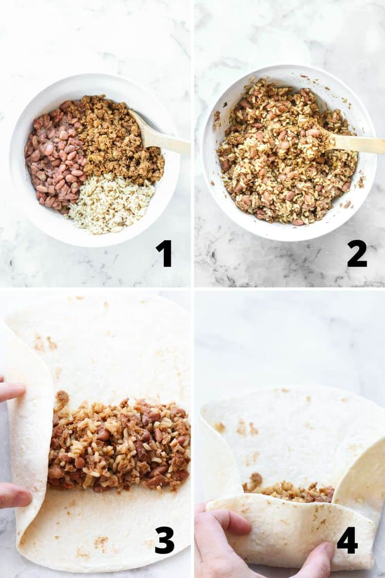 overhead process shots of mixing beans, rice, and veggie crumbles together, then filling and wrapping it in a burrito shell