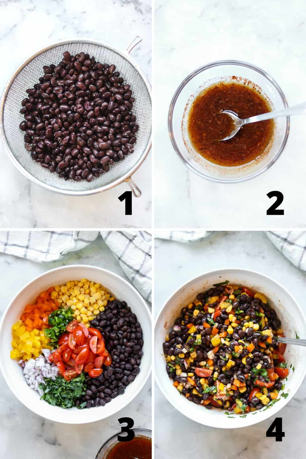 overhead collage of black bean salad process showing rinsing black beans, making dressing and mixing it in
