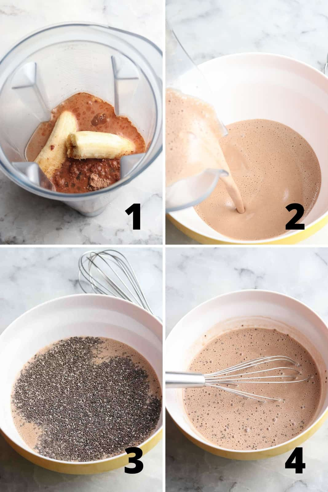 Collage of photos for how to make chocolate chia pudding