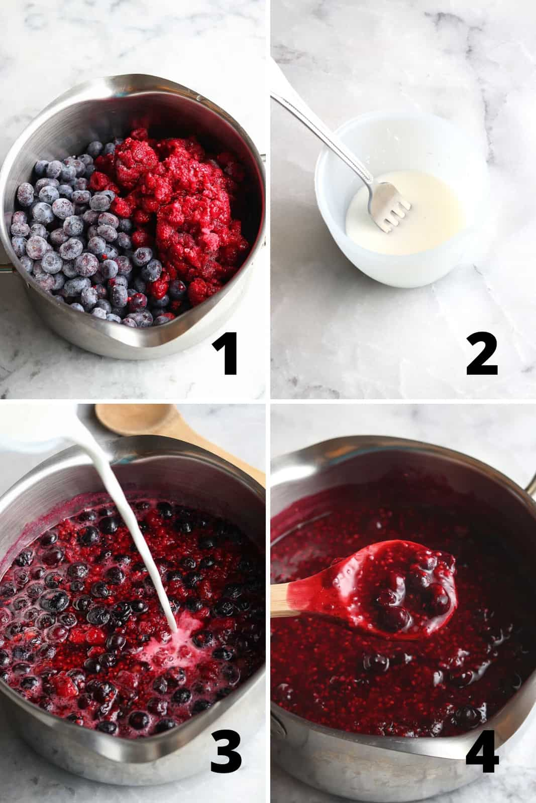 photo collage showing the process for making berry sauce in a silver pot