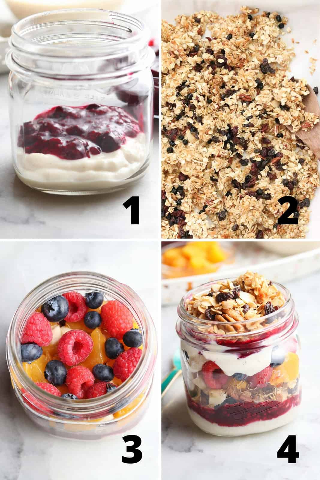 collage of four photos showing assembly of layers for vegan parfait