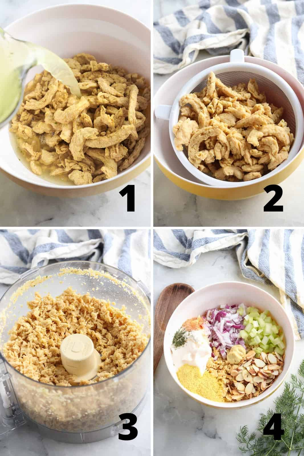 four overhead process photos showing soaking the soy curls, draining them, food processing them, and mixing everything together